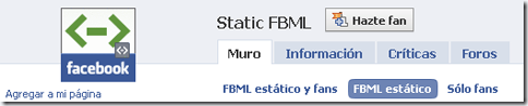 Static FBML de Facebook
