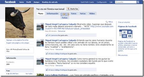 """Página de Facebook de """"no es mi fiesta nacional"""""""