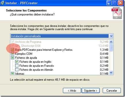 Cuadro de diálogo que instalará la barra de PDFCreator