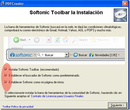 Cuadro de dilogo que instalar la barra de Softonic