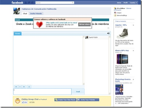 Aspecto del chat Clobby de Facebook