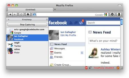 Captura de Firesheep, extensión de Firefox, funcionando