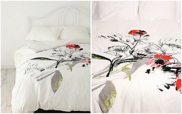 Urban Outfitters Wild Poppy Bouquet Duvet Cover