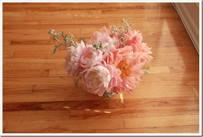 Mrs FDR and coral charm peonies arrangement