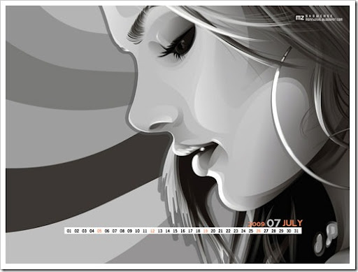 Vector Girl Wallpaper desktop computer with and without calendar for July