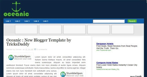 new-professional-blogger-template-Oceanic-2-3 Columns-adsense-ready