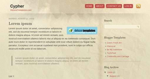 cypher-grunge-paper-blogger-template-wordpress-converted