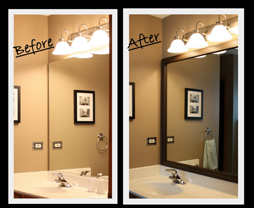 Sabby in suburbia tutorial master bath mirror update for How to frame mirror in bathroom