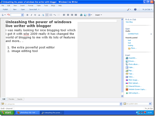 windows live writer post editor
