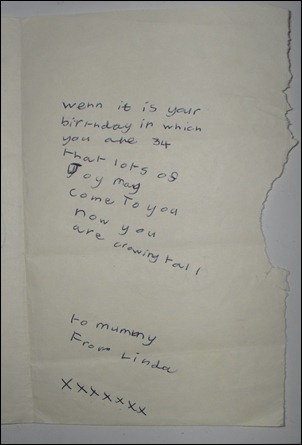 Jan 1965 B'day Card InsideRight from Me To Mum Aged 7