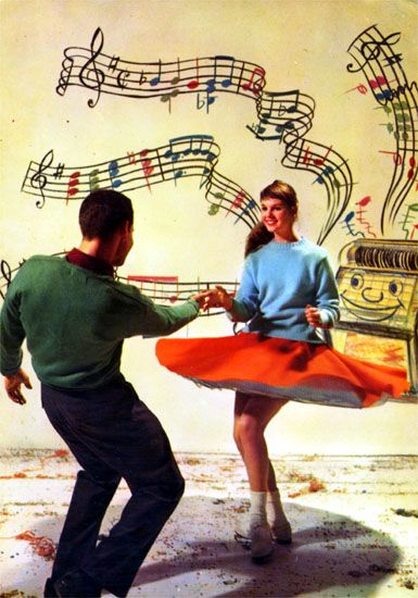 Cartes Postales Pop et  Kitsch des années 50, 70 et 70 - Pop and kitsch vintage postcards from the fifties, the sixties and the seventies : Dance, dance dance