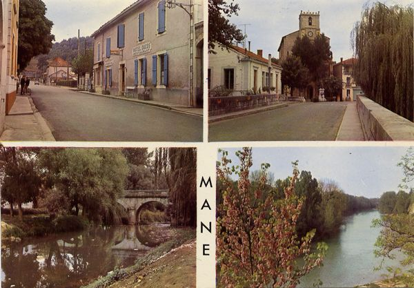 Cartes Postales Pop et  Kitsch des années 50, 70 et 70 - Pop and kitsch vintage postcards from the fifties, the sixties and the seventies : MANE (H.G.) La ville, l'église, le pont sur l'Arbas, le Salat.