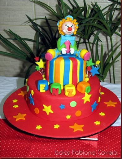 bolo circo, bolo palhaço, bolo estrelas, bolos fabiana correia maceió-al