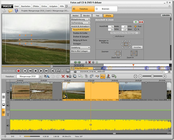 Magix PhotoStory User Interface - Zoom Effect