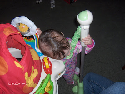 I think Ill just rest my head on the bouncer!