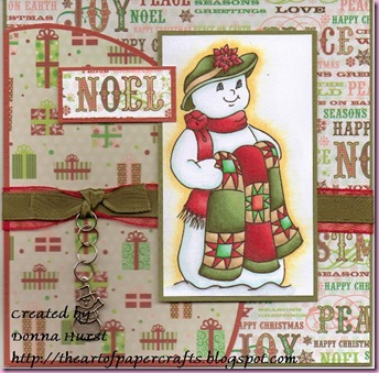 Snowman with Quilt card