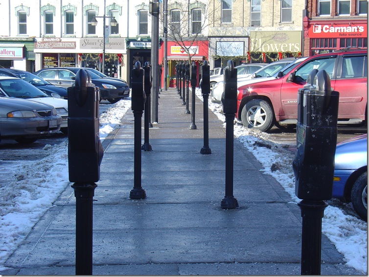 The parking meters of Market Square - just waiting for their chance to shine....