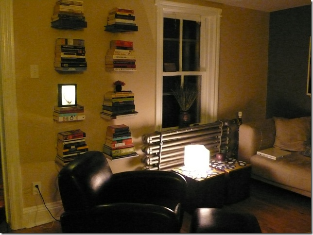 Invisible floating bookshelves!
