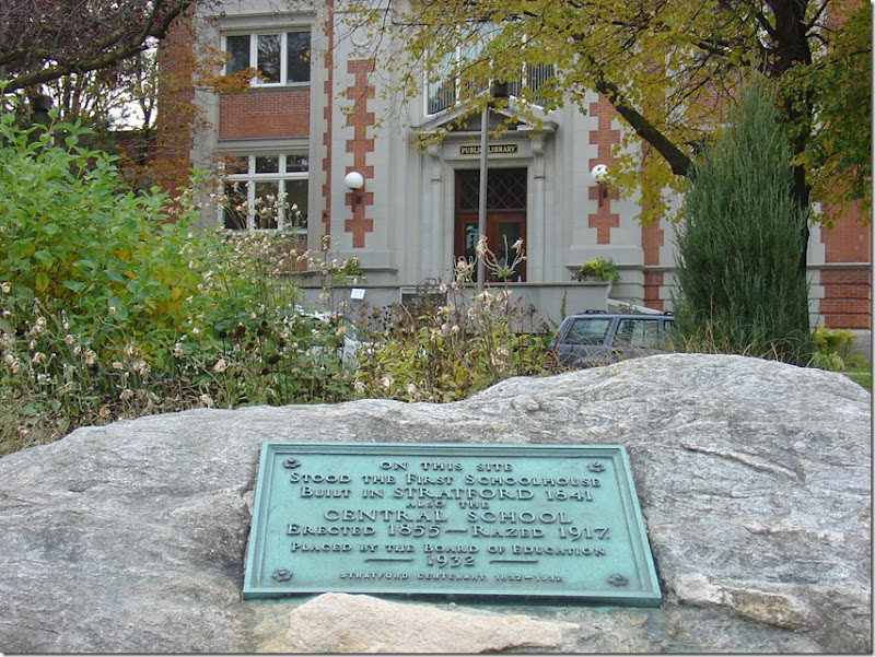 Historical Plaque in Front of the Stratford Public Library