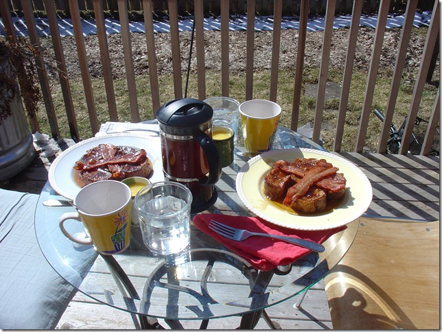 First breakfast on the deck