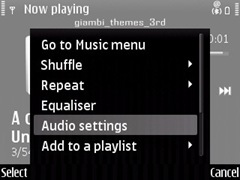 audio settings in E71 for media player