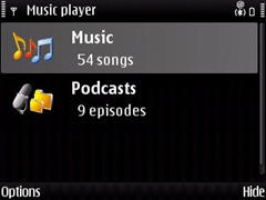 Screenshot of Music Player on E71