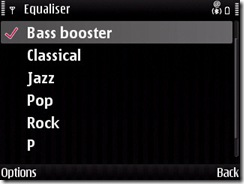 Media player's equalizer options on E71