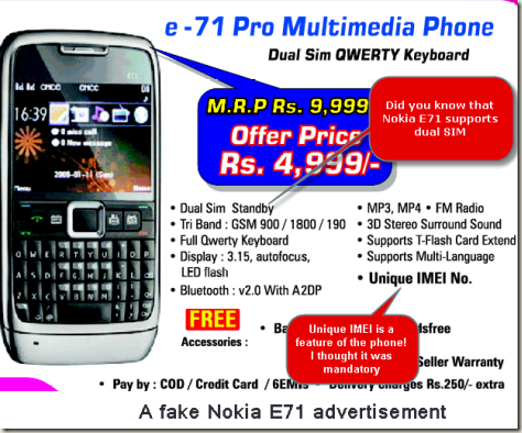 Advertisement of a fake Nokia E71