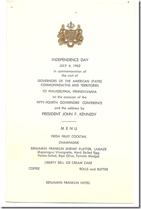 independence menu 1962