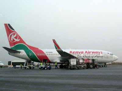 Kenya Airways plane in Bamako Mali