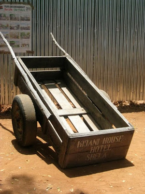 Baggage cart at Lamu airport in Kenya