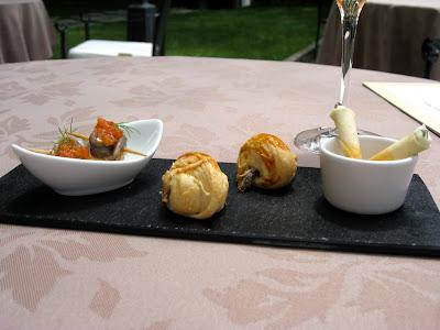 Amuse bouches at lunch at Le Clos de la Violette in Aix en Provence France