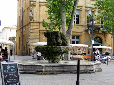 Moss covered fountain in Aix en Provence France