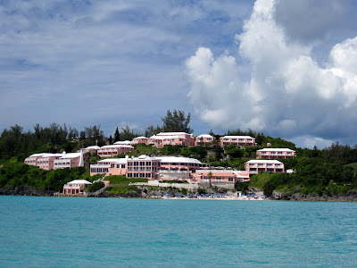 Pink houses in Bermuda as seen from a boat