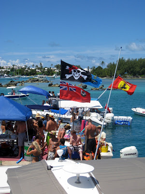 Non Mariners raft up in Bermuda during Cup Match