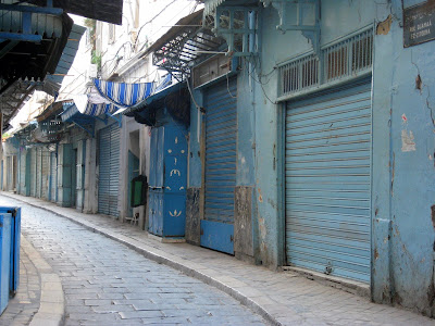 Blue shops in the Tunis medina