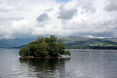 Island in a lake in the Lake District in England
