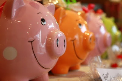 Piggy banks for sale at a shop in Keswick England