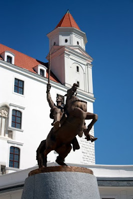 Statue of a man on a horse in Bratislava Slovakia