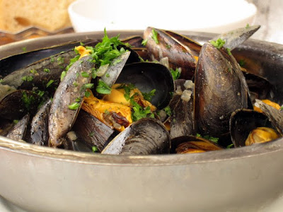 Mussels at a restaurant in Bordeaux France