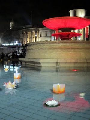 Fountain in Trafalgar Square during Malaysia Night in London