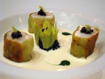 Langoustines with caviar, celeriac and yuzu at Hotel Le Bristol's Restaurant Gastronomique in Paris France