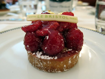 Raspberry tart at the Hotel Le Bristol Paris restaurant