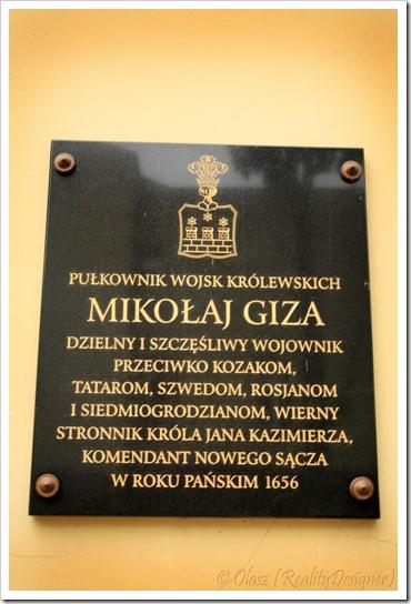 Nowy Sącz, Kościół pw. św. Ducha i klasztor oo. jezuitów, tablica pamiątkowa Mikołaj Giza
