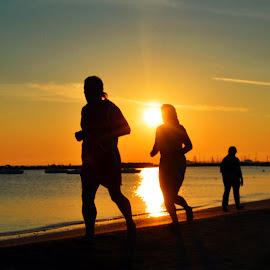 Morning Jogging by Marco Bertamé - Sports & Fitness Running ( jogging, silhouette, sea, beach, sunrise, running, sun, jogger,  )
