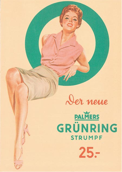 Advertisement for Palmers stockings, 1955-56