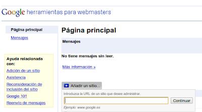 página principal de Herramientas para webmasters de Google
