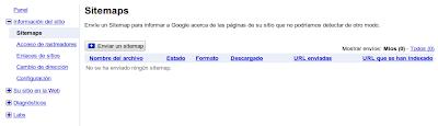 pantalla de sitemaps en Herramientas para Webmasters