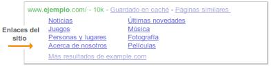 Enlaces del sitio en Herramientas para Webmasters