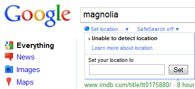 Google search Set your location
